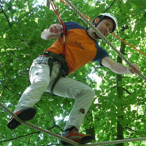 Grimper aux arbres sur des parcours accessibles à toute la famille - Adrénature à Melgven