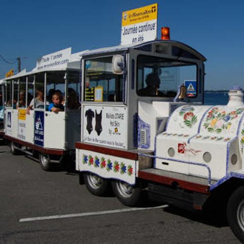 Le petit train avec à bord un public plutôt familial, propose une visite guidée de la ville de Concarneau