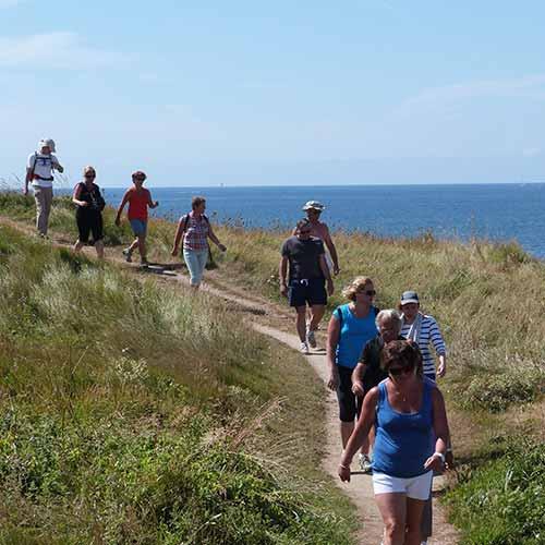 Un groupe de randonneurs marche sur le sentier littoral près du camping Le Suroît