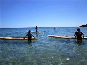 Dans la mer, des personnes tentent l'expérience du paddle et de la planche à rame pour avoir une autre vue mer